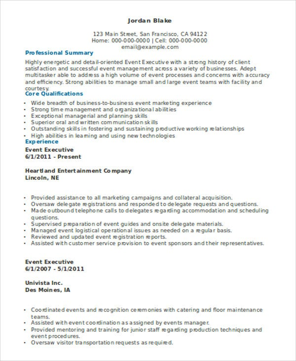 event executive resume example