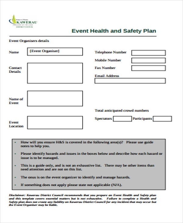 Safety Plan Formats  Free  Premium Templates