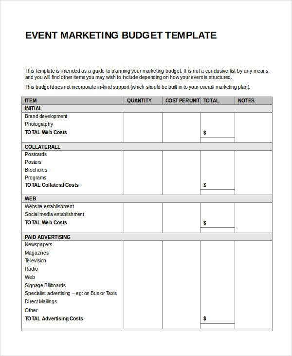 event marketing budget template