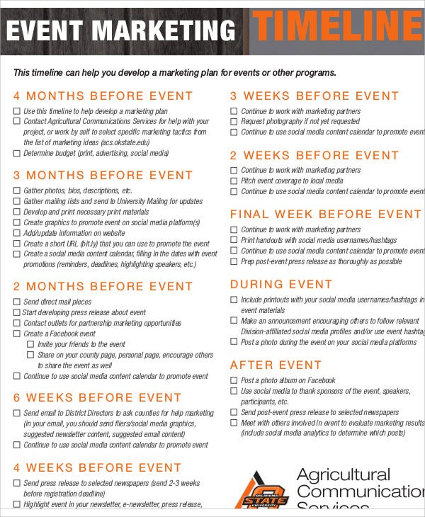 event marketing project timeline