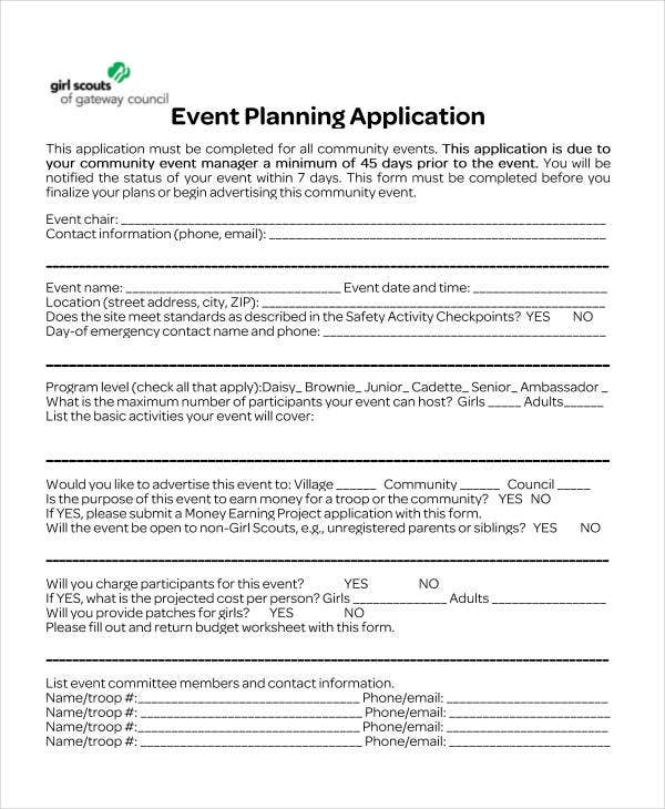 41+ Application Templates in PDF | Free & Premium Templates on event schedule form, event evaluation form, event fact sheet, event information form, event inquiry form, annual report form, event floor plan, event registration form, event programme, master plan form, event report form, event preparation form, event planner documents, event contact form, event request form, event reflection form, details event form, event planner form template, event results form, event approval form,