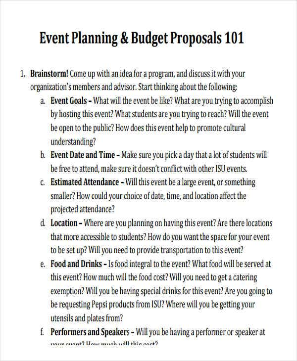event planning proposal