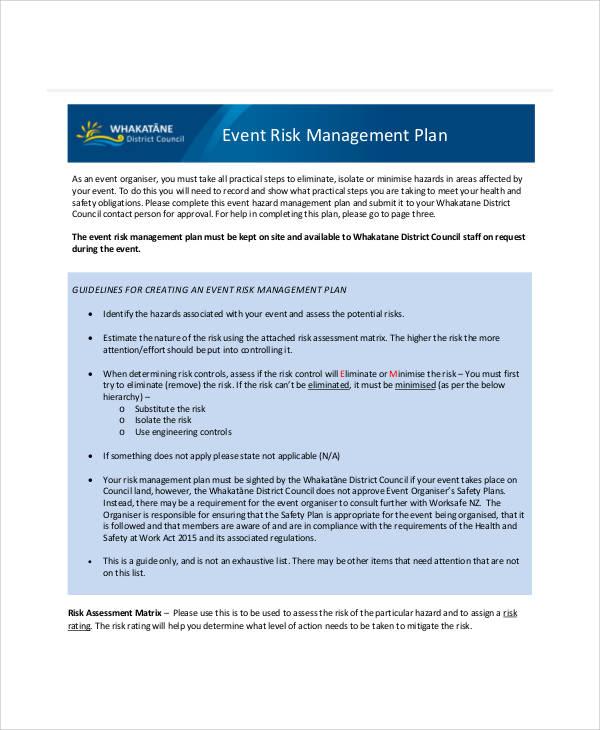 event risk management plan