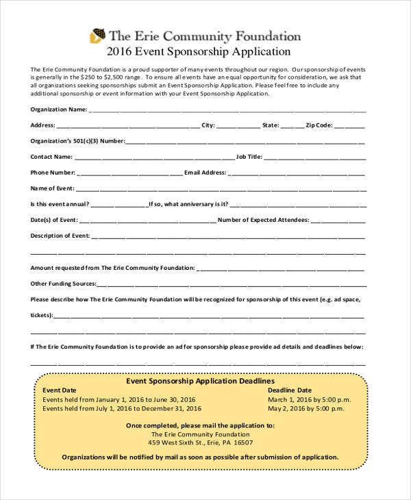event sponsorship application
