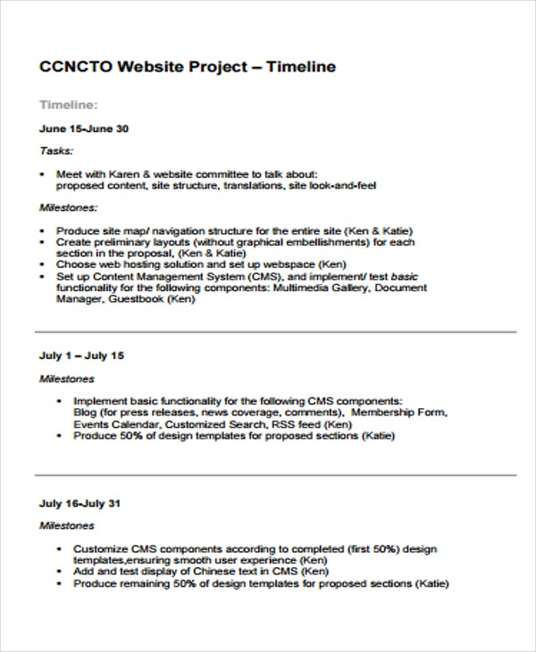 example website project timeline