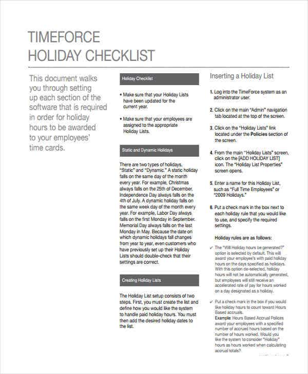 example of holiday checklist