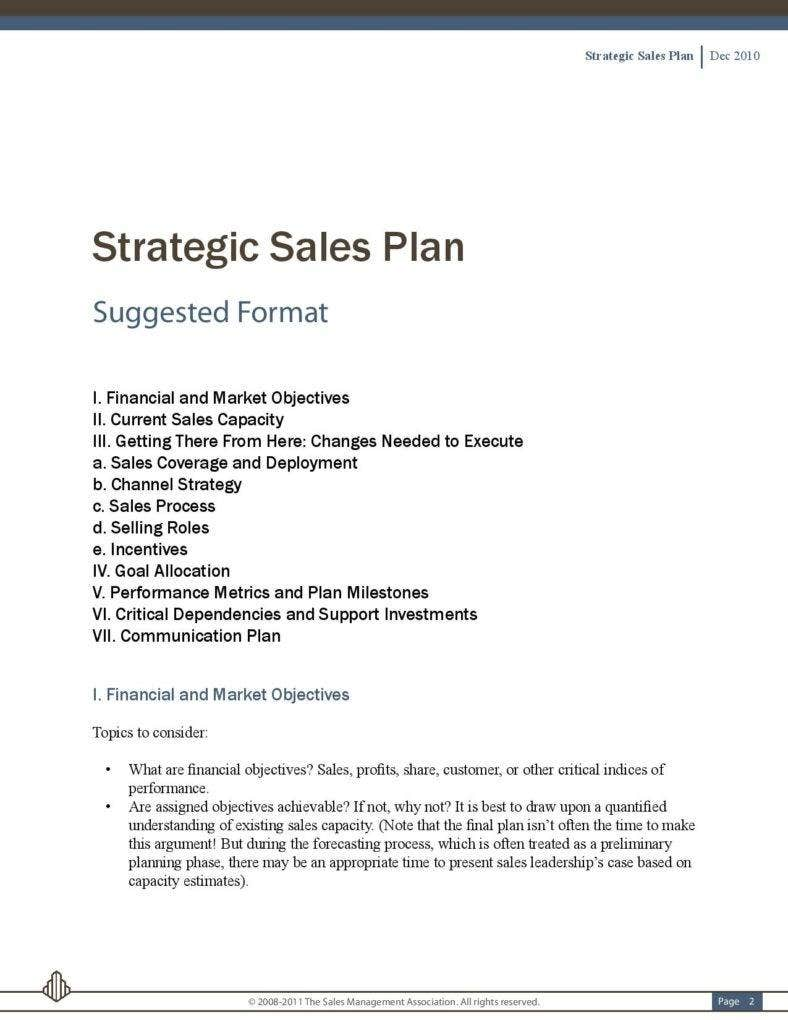 Exceptional Example Of Strategic Sales Plan PDF Template Free Download