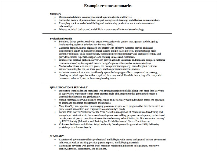 Summary For Resume Resume Summary Statement Example Resume Summary
