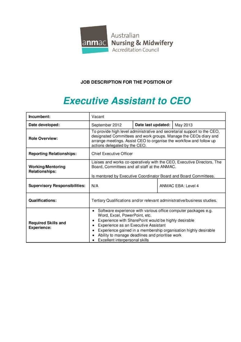 11 job description templates free premium templates for Executive administrative assistant job description template