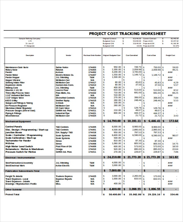 expense sheet for project tracking