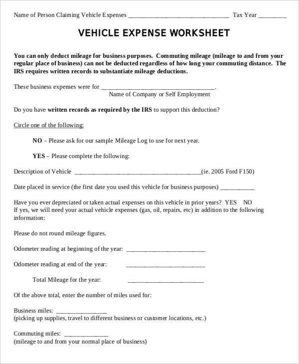 expense sheet for vehicle mileage