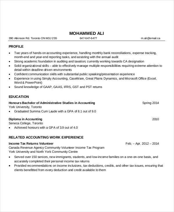 experienced accountant resume format