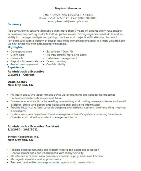 experienced administrative executive resume