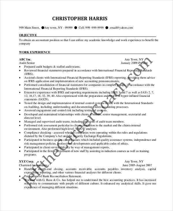experienced chartered accountant resume