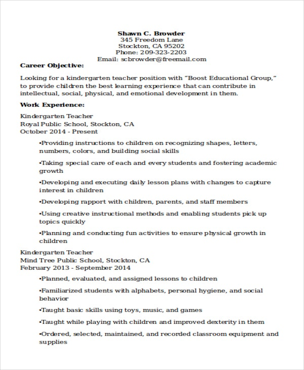20 Teacher Resume Templates Pdf Doc Free Amp Premium
