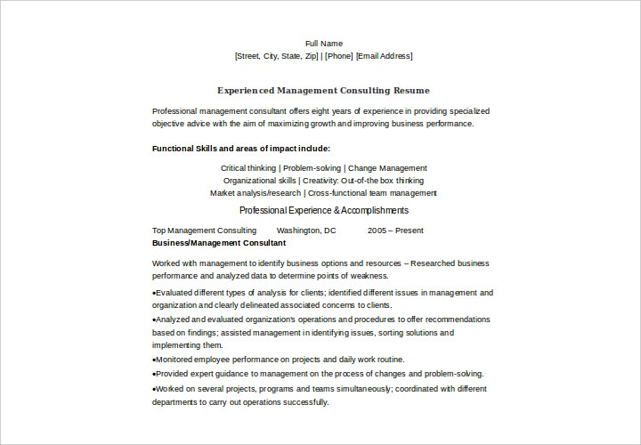 experienced management consulting resume