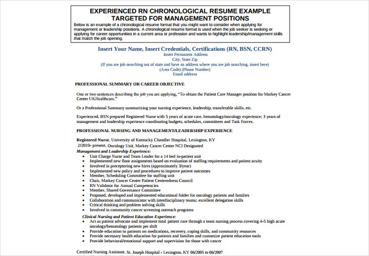 experienced rn chronological resume