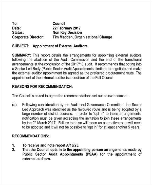 Auditor Letter Of Appointment
