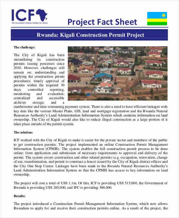 fact sheet for construction project