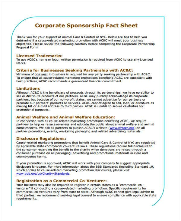 fact sheet for corporate sponsorship