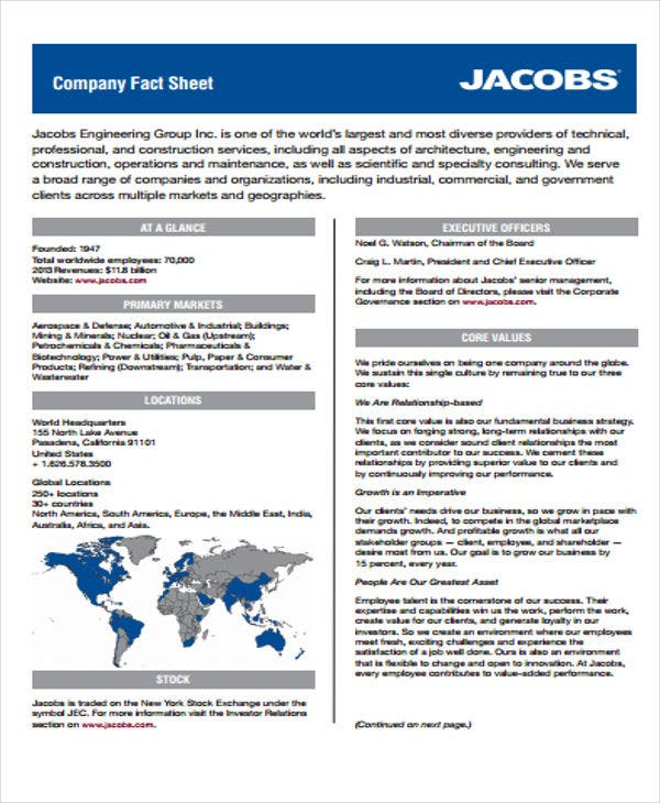 Company fact sheet ibovnathandedecker 23 fact sheet templates free premium templates wajeb Image collections