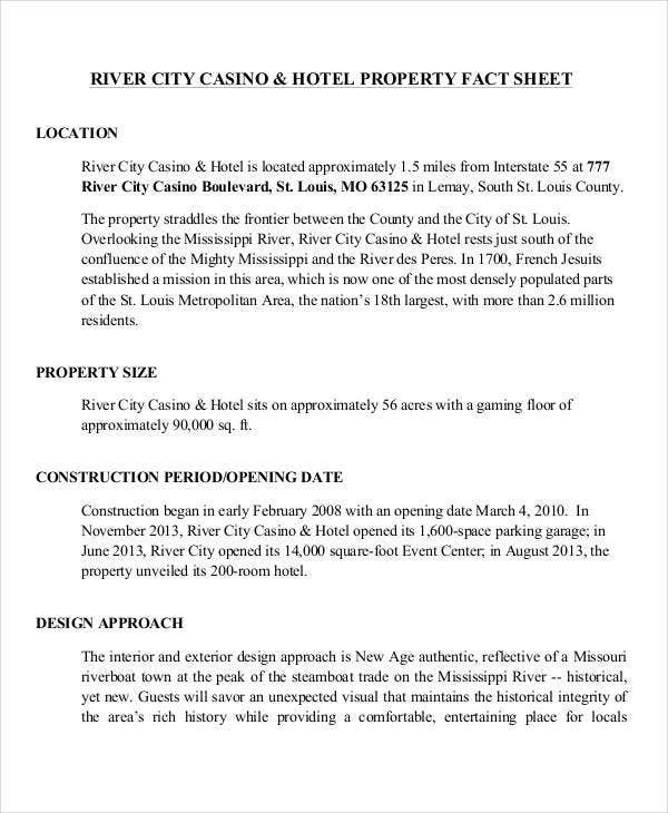 fact sheet for hotel property
