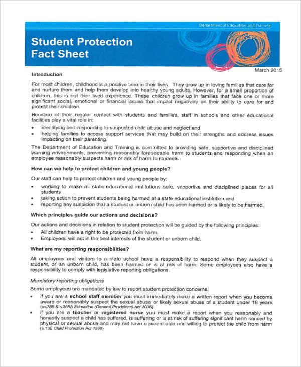fact sheet for student protection