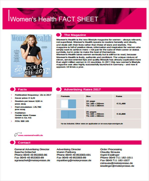 fact sheet for womens health