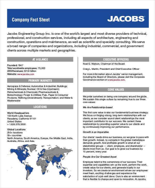 fact sheet of company
