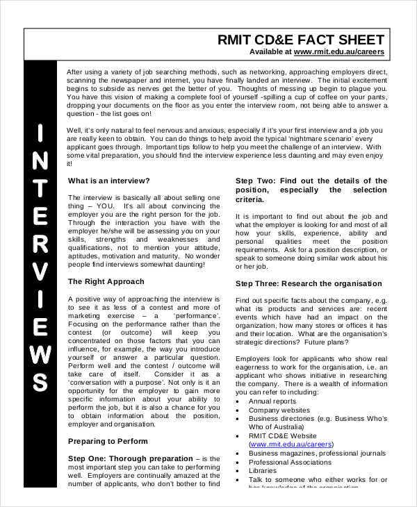 fact sheet of job interview