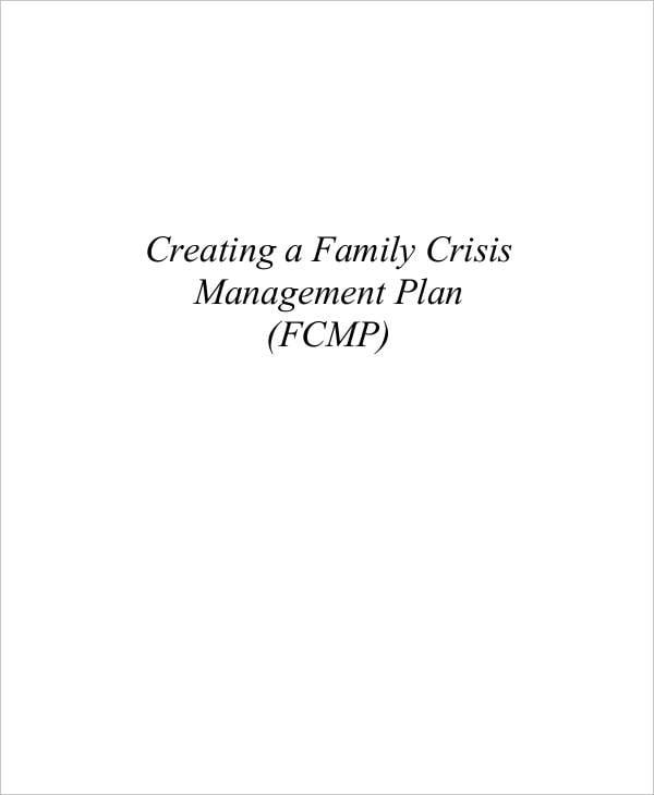 family crisis management plan