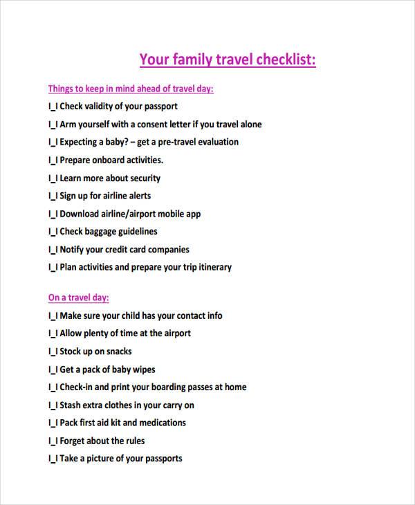 family travel checklist