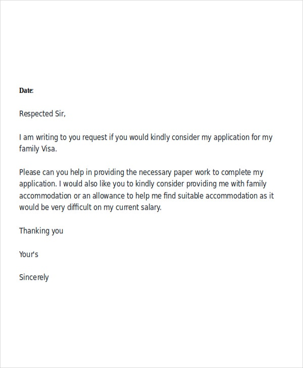 family visa request letter