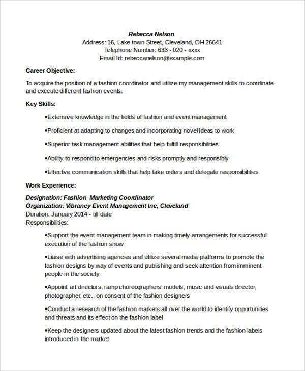 fashion marketing coordinator - Marketing Resume Skills