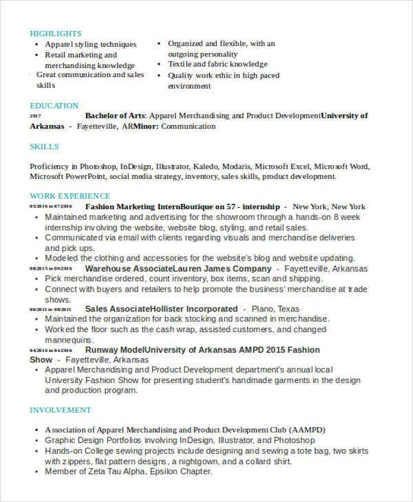 fashion marketing cv