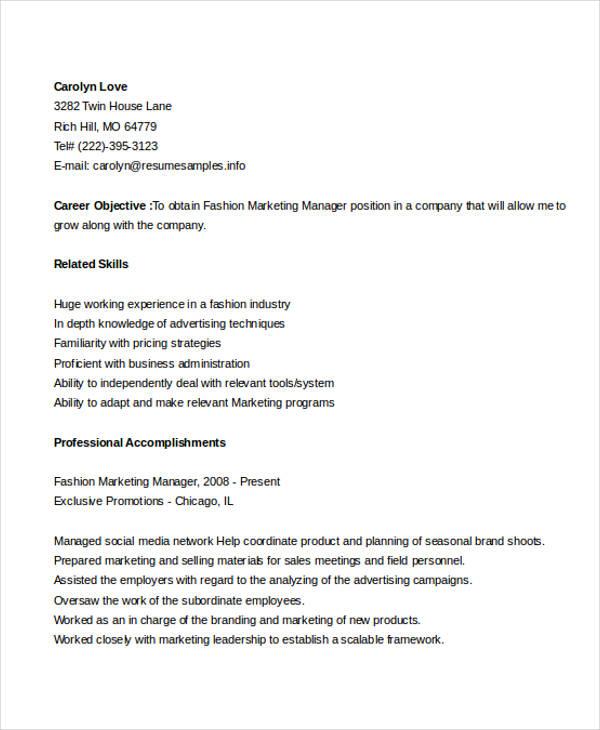 fashion marketing manager resume
