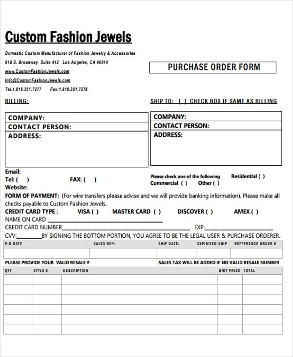 Fashion Order Form 5 Free Word Pdf Format Download