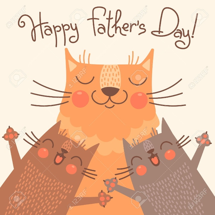 fathers day greeting with cats