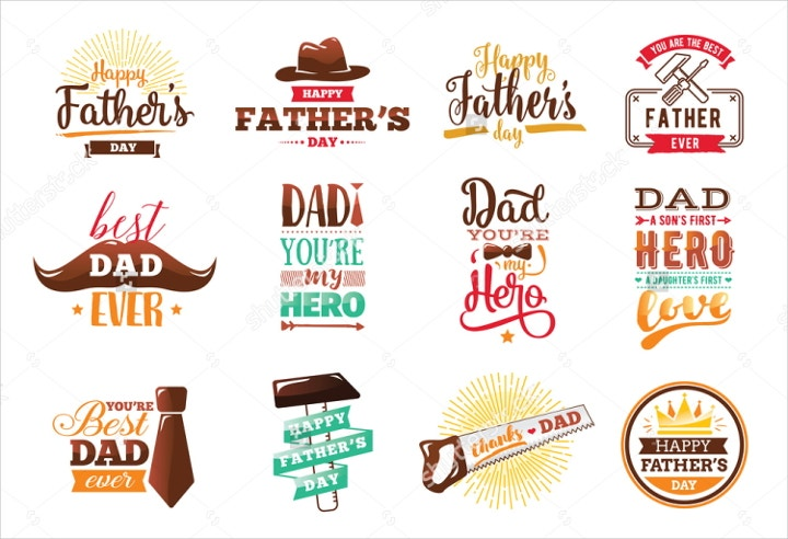 fathers day vector emblems