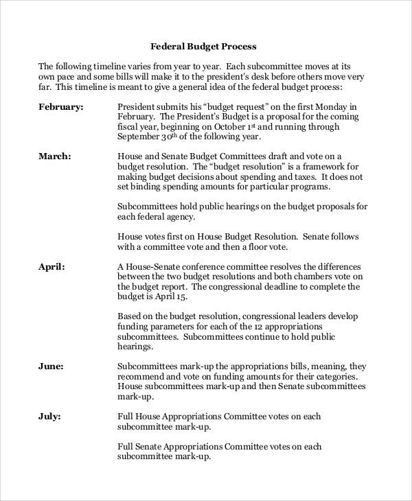 federal budget timeline
