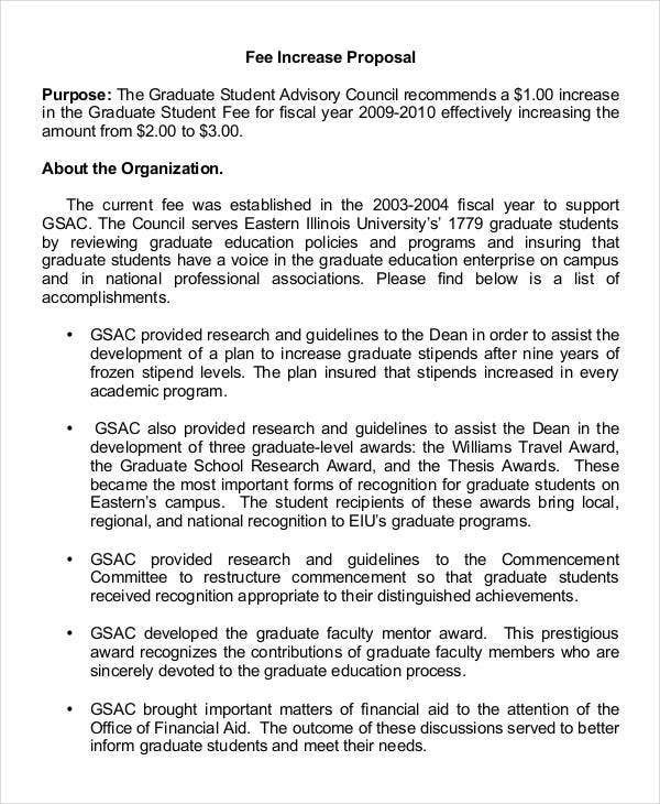 fee increase proposal