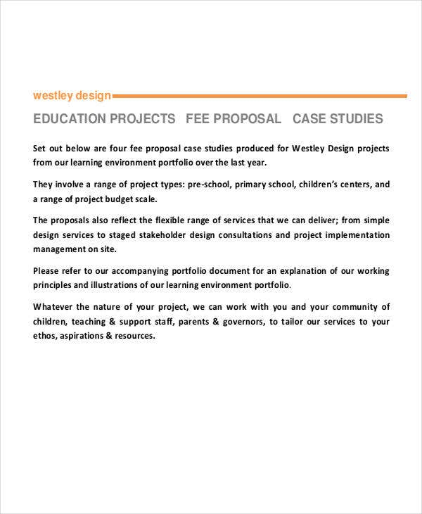 fee proposal for project