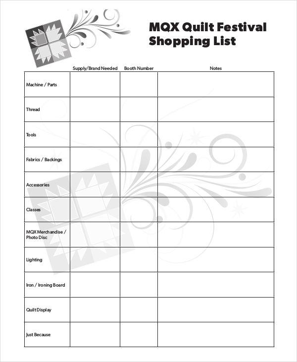 festival shopping list
