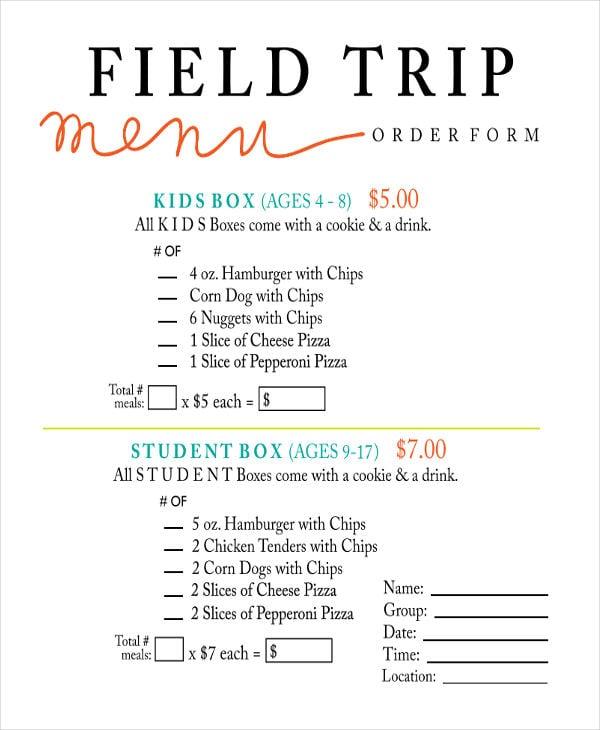 field trip menu order form