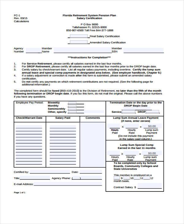final salary certificate
