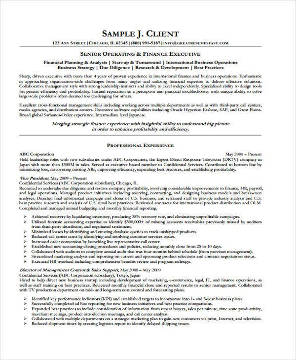 finance account executive resume