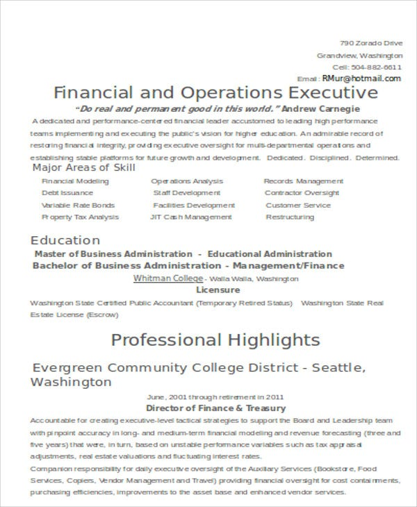 finance executive skills resume