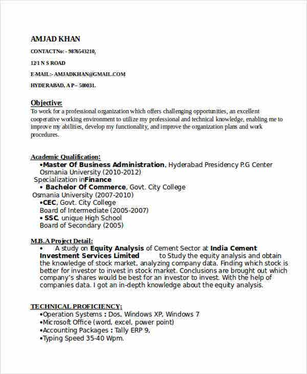 finance fresher resume format