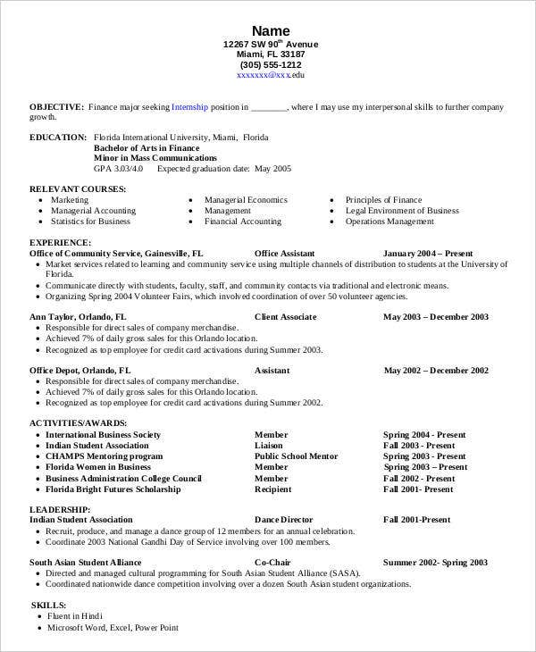 resume objective internship finance 28 images sle