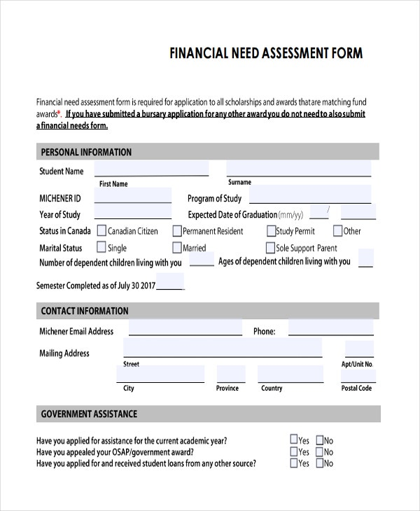 47 assessment form examples free premium templates for Financial needs analysis template free